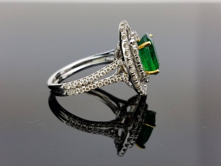 White Gold Oval Zambian Emerald and Diamond Cocktail Ring 3
