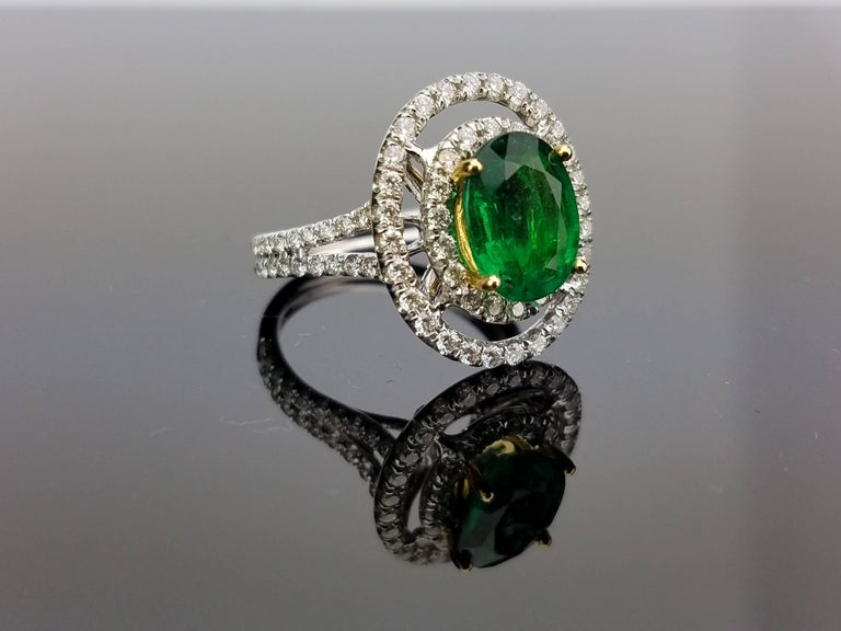 White Gold Oval Zambian Emerald and Diamond Cocktail Ring 2