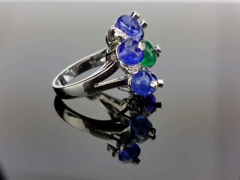 Modern White Gold Tanzanite, Zambian Emerald and Diamond Cocktail Ring For Sale