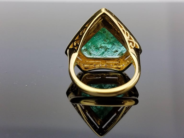 Carved Emerald Diamond Cocktail Ring 4