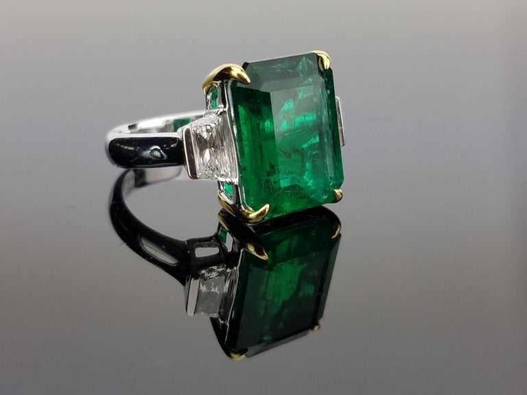 Zambian Emerald With Diamond Side Stone Cocktail Ring For