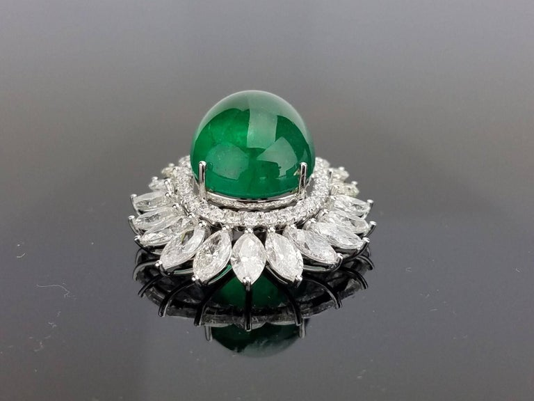 Art Deco Certified Cabochon Zambian Emerald and Marquise Diamond Pendant For Sale