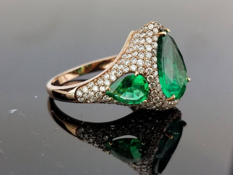 Pear Shape Emerald and Diamond Cocktail Ring 2