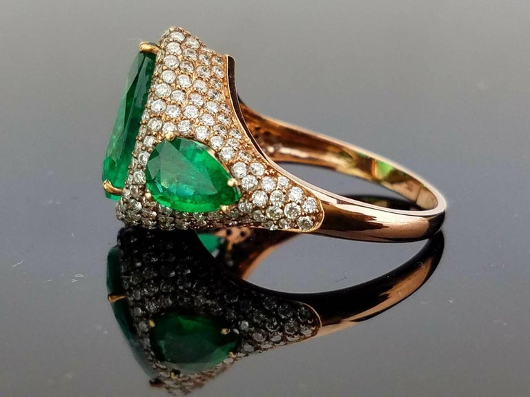 Art Deco Pear Shape Emerald and Diamond Cocktail Ring For Sale