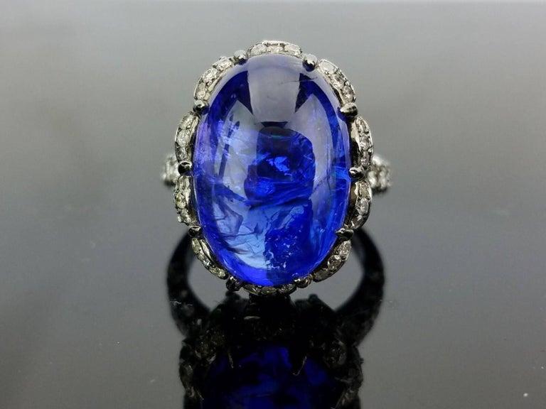 Modern Tanzanite Emerald and Diamond Cocktail Ring 3