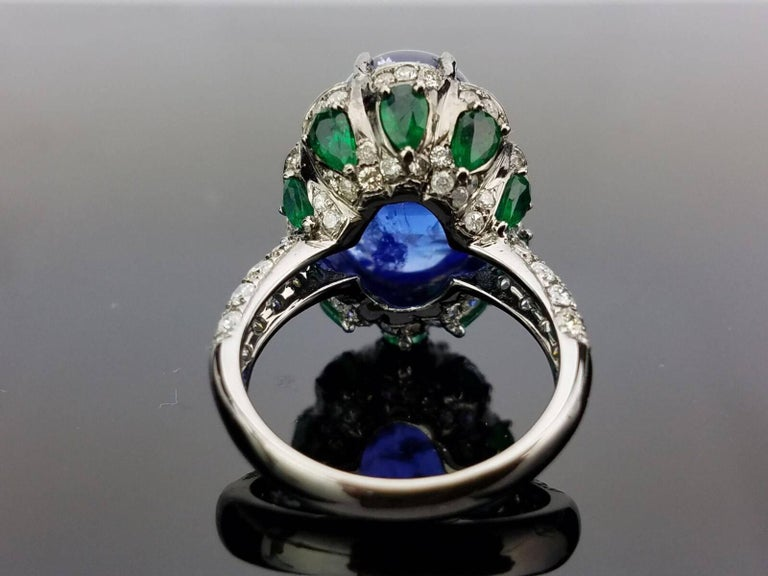 Women's Modern Tanzanite Emerald and Diamond Cocktail Ring For Sale