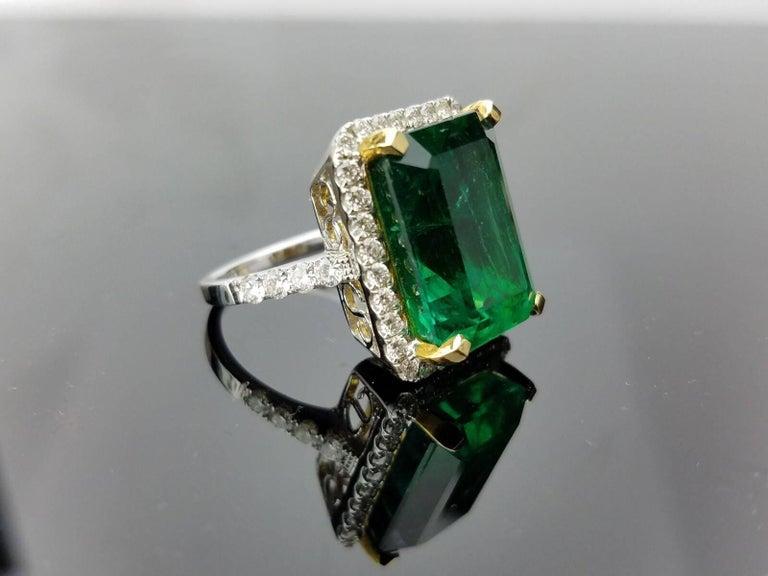 15.19 carat Zambian Emerald and Diamond Cocktail Ring 2