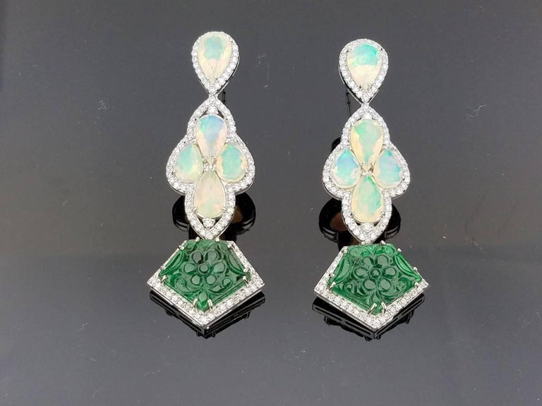 Dangling Earring With Pear Shape Opal Carved Emerald And