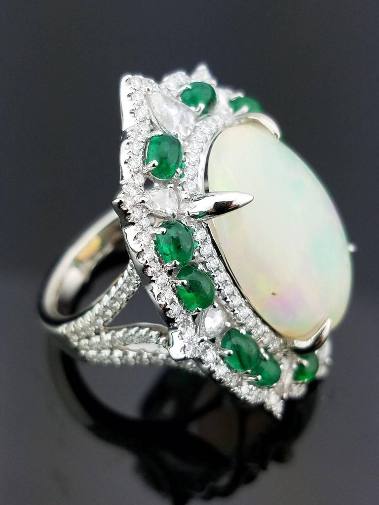 10.66 Carat Cabochon Opal, Emerald and Diamond Cocktail Ring 2