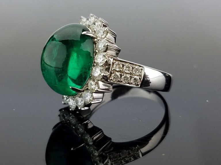 8.35 Carat Emerald Cabochon and Diamond Cocktail Ring 2