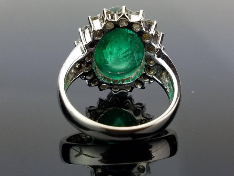 8.35 Carat Emerald Cabochon and Diamond Cocktail Ring 3