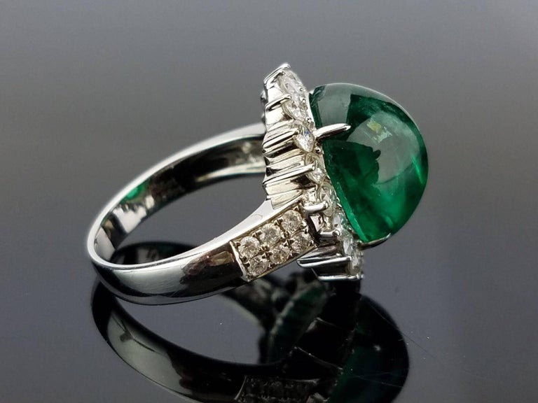 8.35 Carat Emerald Cabochon and Diamond Cocktail Ring 4
