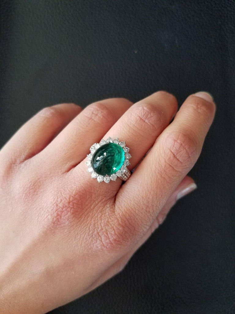 8.35 Carat Emerald Cabochon and Diamond Cocktail Ring 5