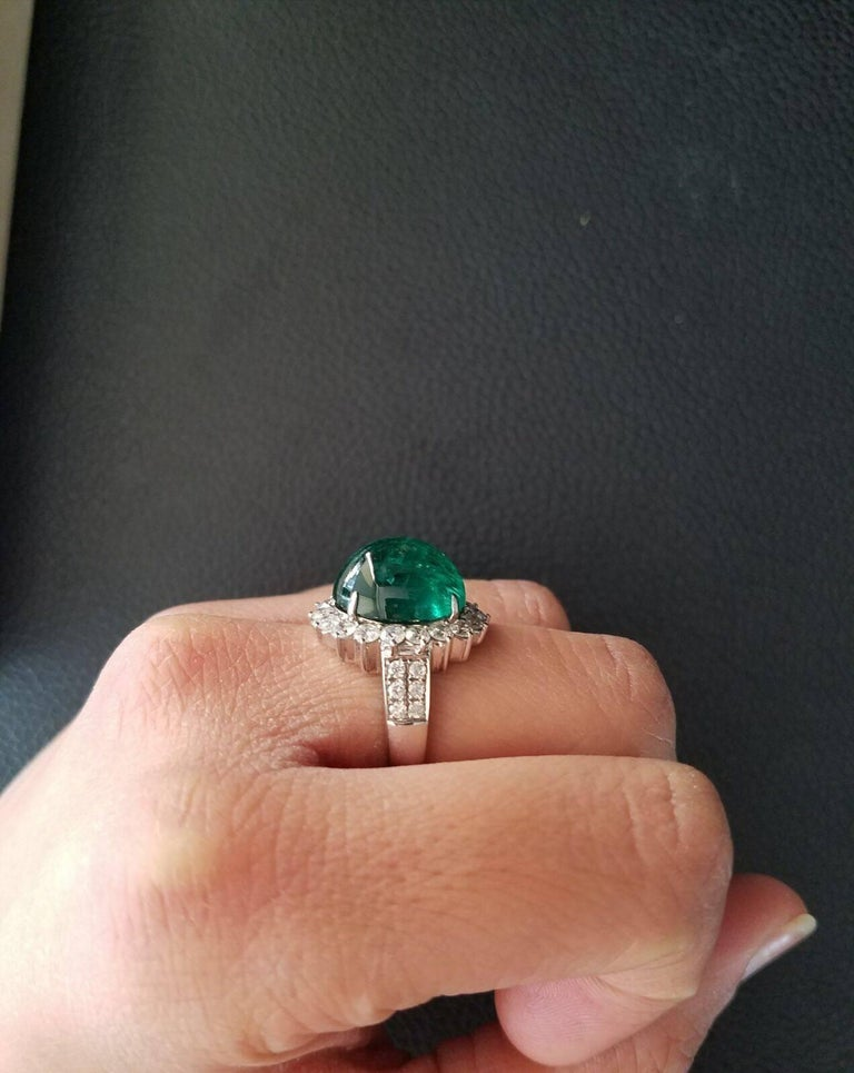 8.35 Carat Emerald Cabochon and Diamond Cocktail Ring 6