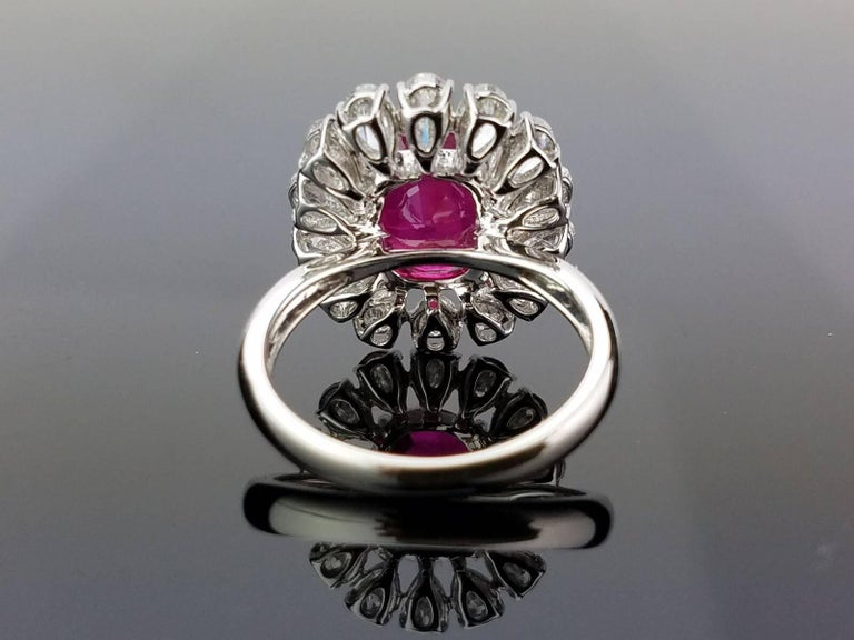 Art Deco GRS Certified 4.10 Carat Burma Ruby and Diamond Cocktail Ring For Sale