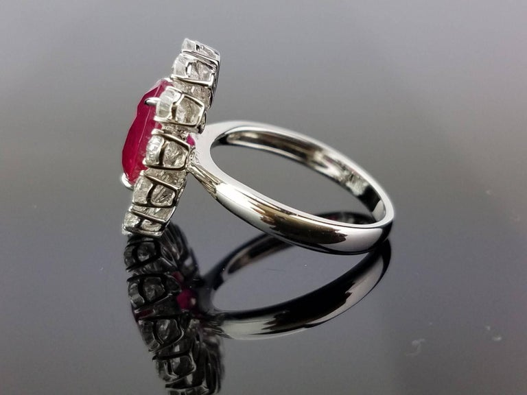 Oval Cut GRS Certified 4.10 Carat Burma Ruby and Diamond Cocktail Ring For Sale