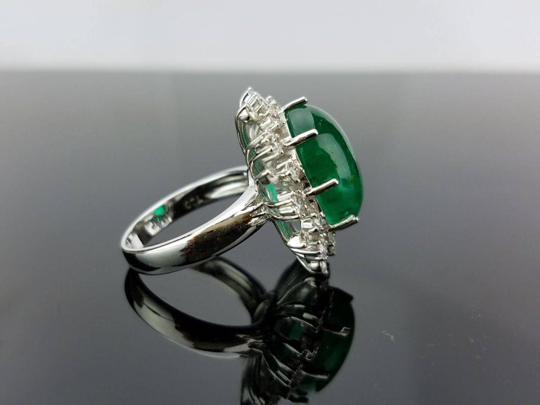 Art Deco 12 Carat Cabochon Emerald and Diamond Cocktail Ring For Sale