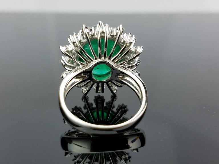 Oval Cut 12 Carat Cabochon Emerald and Diamond Cocktail Ring For Sale