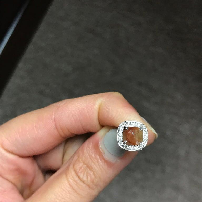 Brown Diamond 18 Karat White Gold Stud Earrings 4