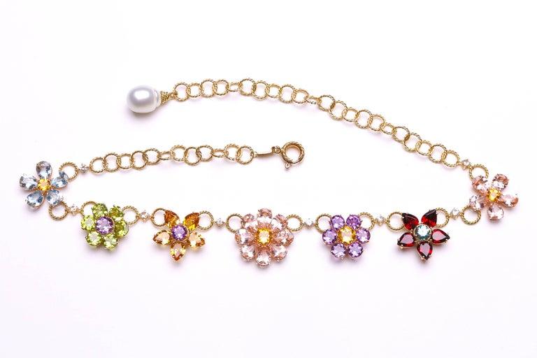 Dolce & Gabbana Multi-Gem-Set Floral Clusters Necklace 3