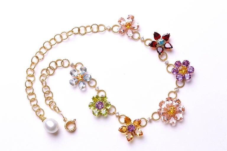 Dolce & Gabbana Multi-Gem-Set Floral Clusters Necklace 2