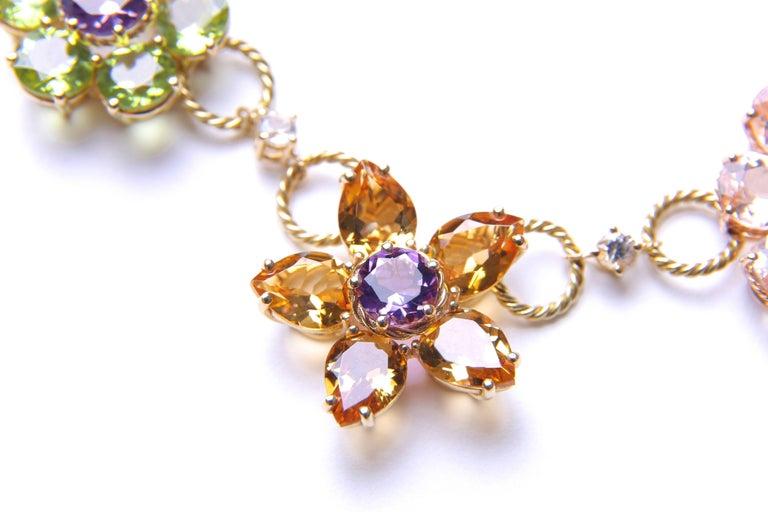 Dolce & Gabbana Multi-Gem-Set Floral Clusters Necklace 4