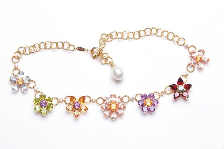 Dolce & Gabbana Multi-Gem-Set Floral Clusters Necklace 6