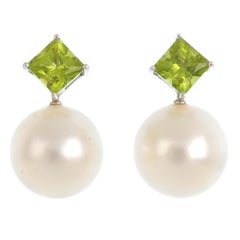 White Gold Autore South Sea Pearl, Diamond and Peridot Pendant and Earrings Set