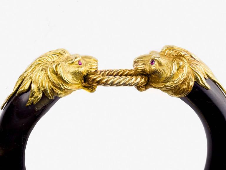 1970s Gay Freres Paris Ruby Gold Horn Bangle Bracelet At