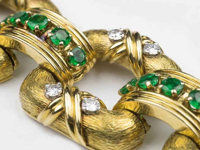 Tiffany & Co. Schlumberger Emerald Diamond Gold Bracelet In Excellent Condition For Sale In San Antonio, TX