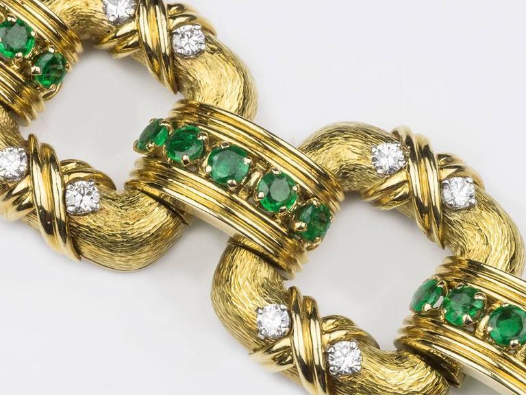 Women's Tiffany & Co. Schlumberger Emerald Diamond Gold Bracelet For Sale