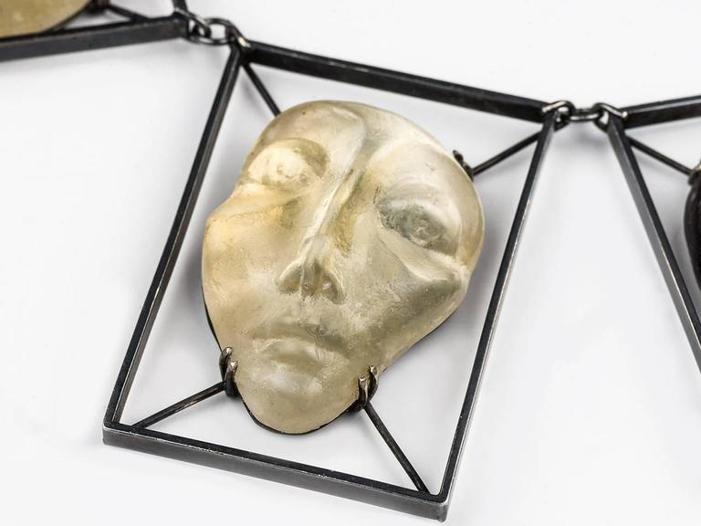 Women's or Men's Imre Art Glass Mask Necklace For Sale