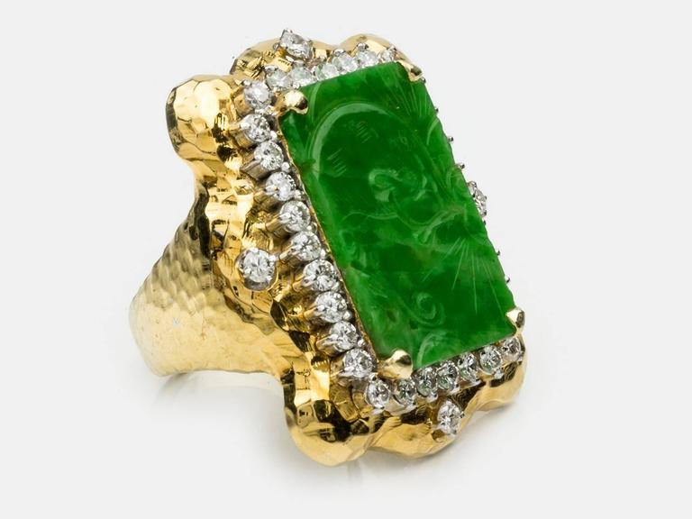 Carved Jade  Diamond Gold Ring 2
