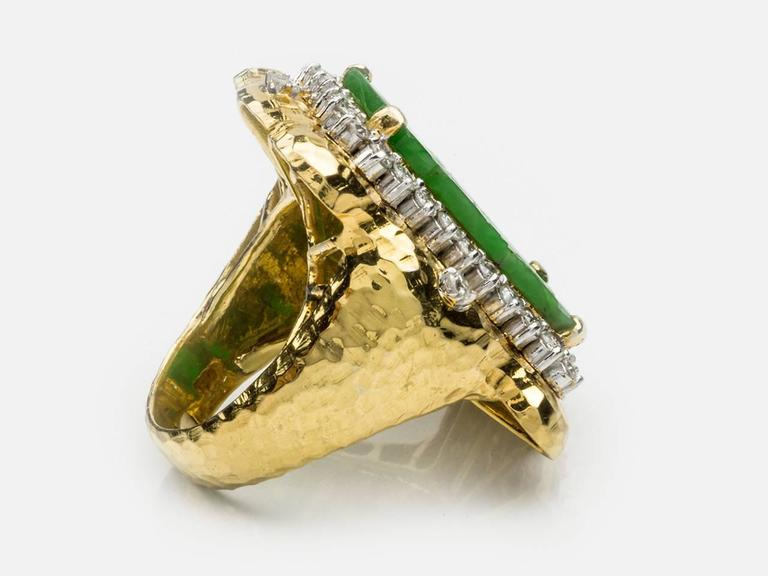Carved Jade  Diamond Gold Ring 3