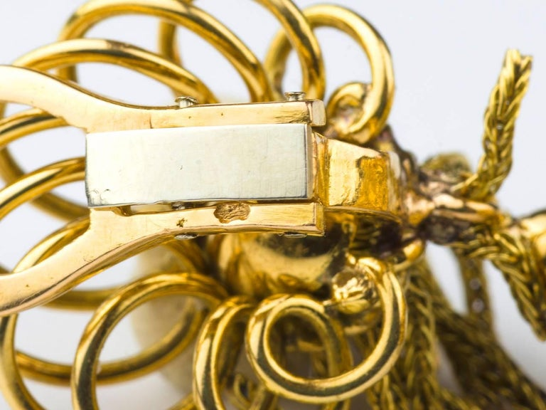 1950s French Emerald Diamond Gold Tassel Earpendants 7