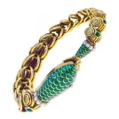 Enamel Pearl Gold Snake Bracelet