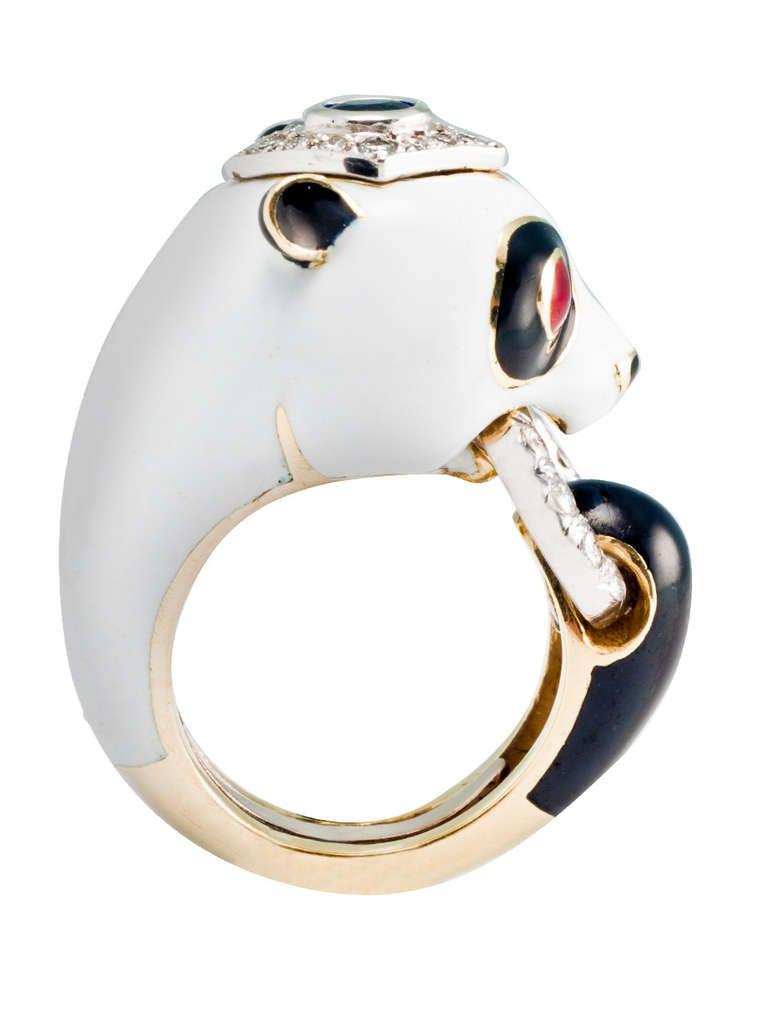 david webb enamel ruby panda ring at 1stdibs