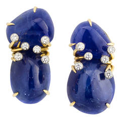 Aletto Bros. Burma Sapphire Diamond Gold Earclips