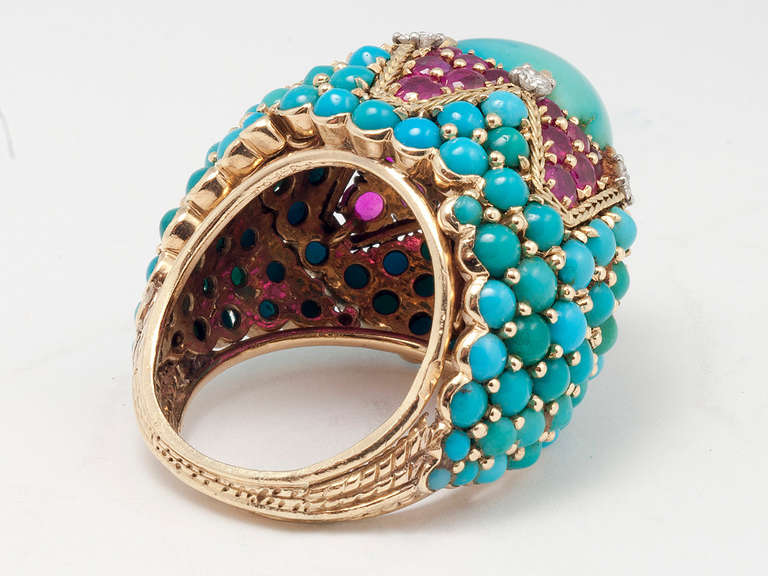 Marchak Paris Magnificent Turquoise Ruby bombe cocktail Ring In Excellent Condition In San Antonio, TX