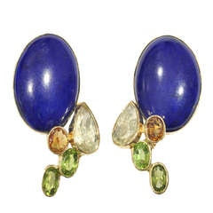 Lapis and Gemset Earclips by Jean Vendome, France