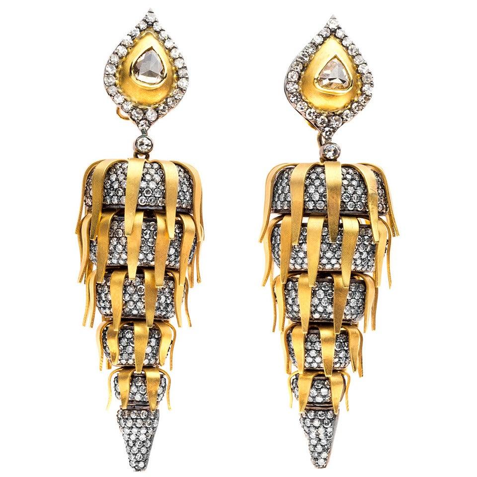 Dramatic Diamond Gold Ear Pendants