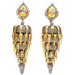 Dramatic Diamond Gold Ear Pendants