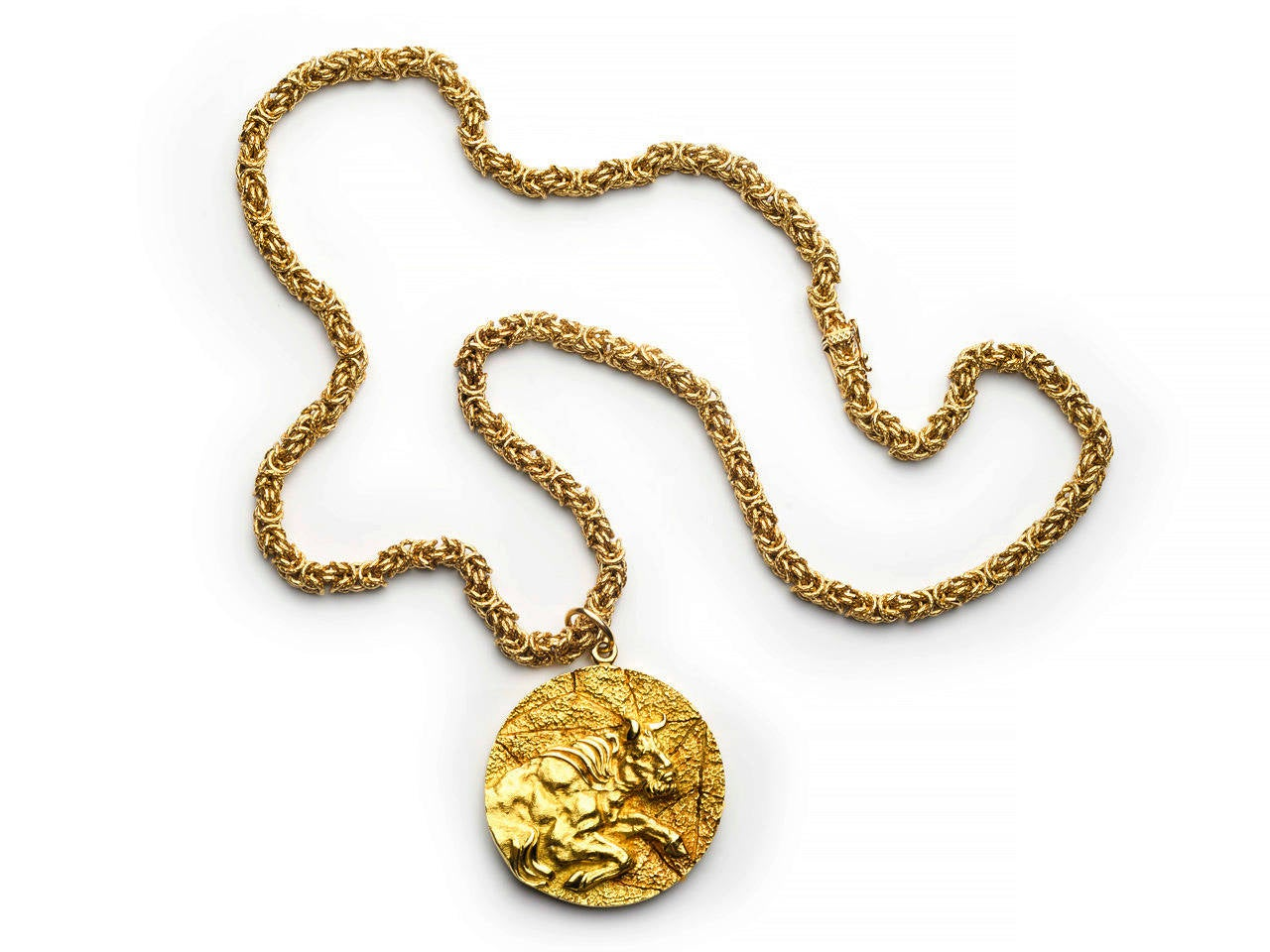 adc6c1054 Tiffany & Co. Gold Taurus Pendant Necklace For Sale. 18k gold woven chain  suspending a circular embossed pendant with Taurus the bull in high relief