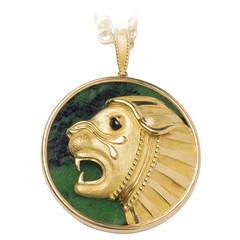 Mauboussin Malachite Gold Lion Pendant Necklace