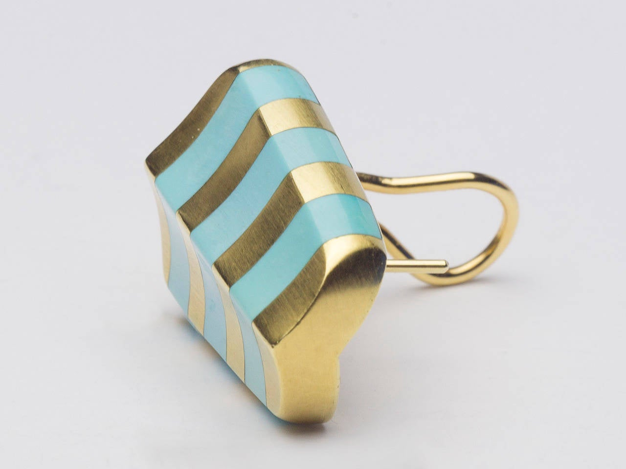 Angela Cummings Turquoise Gold Striped Earclips In Good Condition In San Antonio, TX