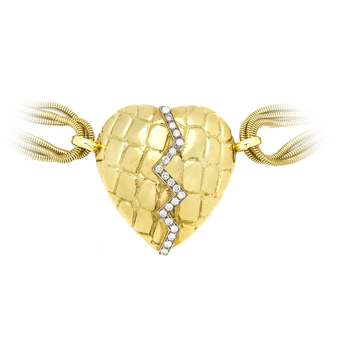 """Gucci Diamond Gold """"Mended Heart"""" Chain Necklace"""