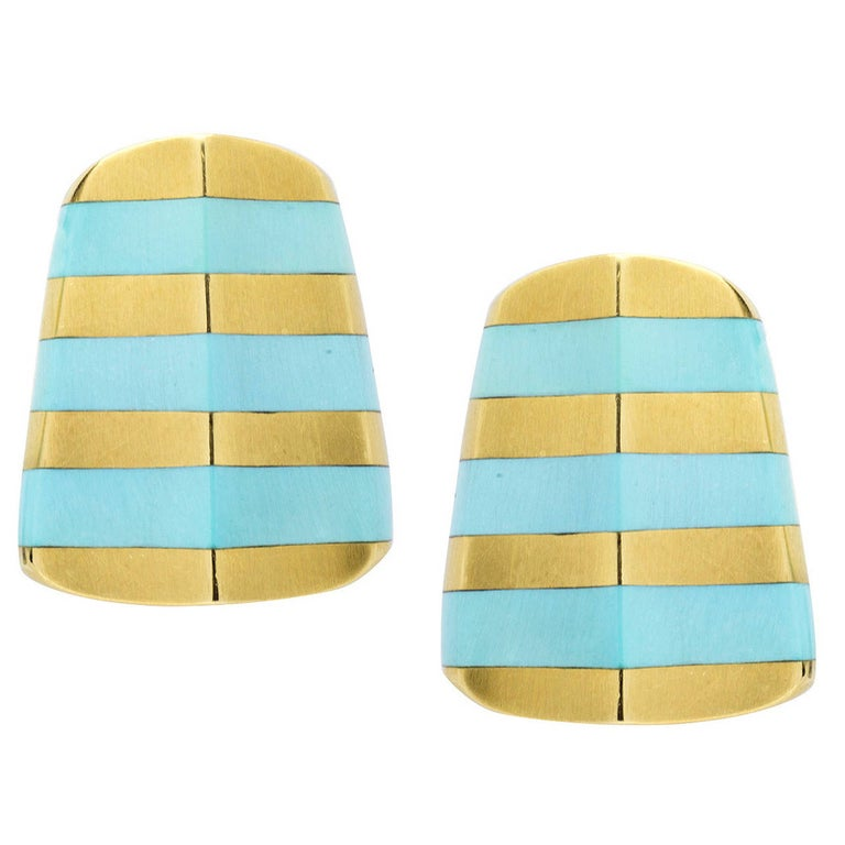 Angela Cummings Turquoise Gold Striped Earclips