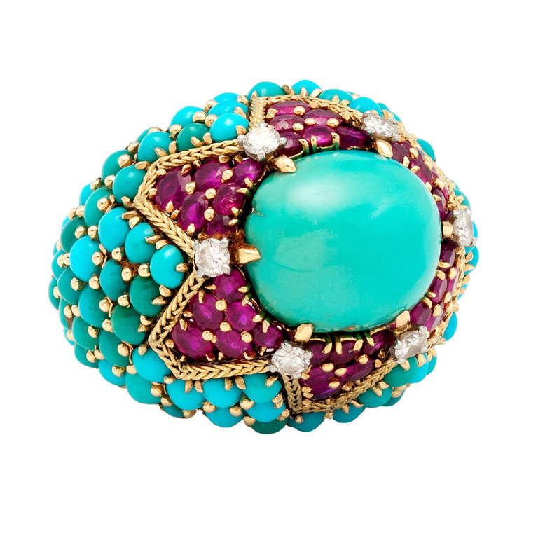 Marchak Paris Magnificent Turquoise Ruby bombe cocktail Ring