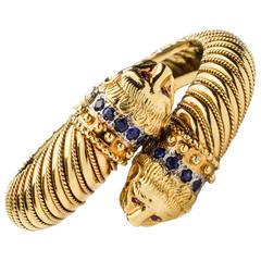 Zolotas Ruby Sapphire Gold Chimera Cuff Bracelet