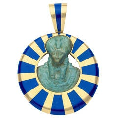Inlaid Lapis Gold Egyptian Faience Pendant